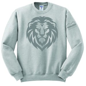 gray crewneck with lion logo