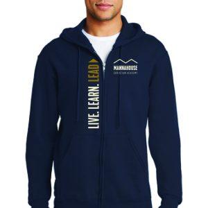 navy hoodie full zipper