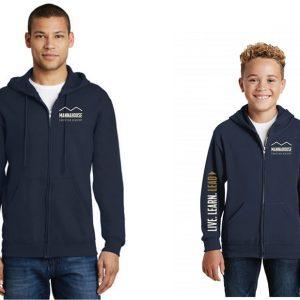 mca navy zip hoodie