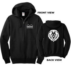 black mca zippie front back